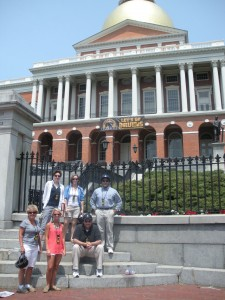 Non-dorky looking Segway-ers in front of the state house.