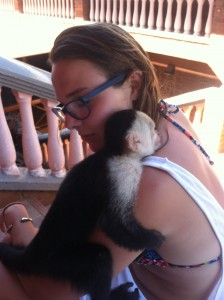 Jordan with Marcella, the cheeky monkey of Tropical Sunset.