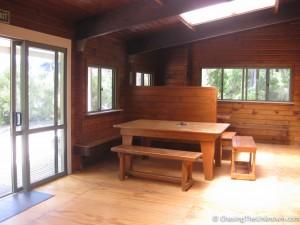 Sitting area at Bark Bay Hut