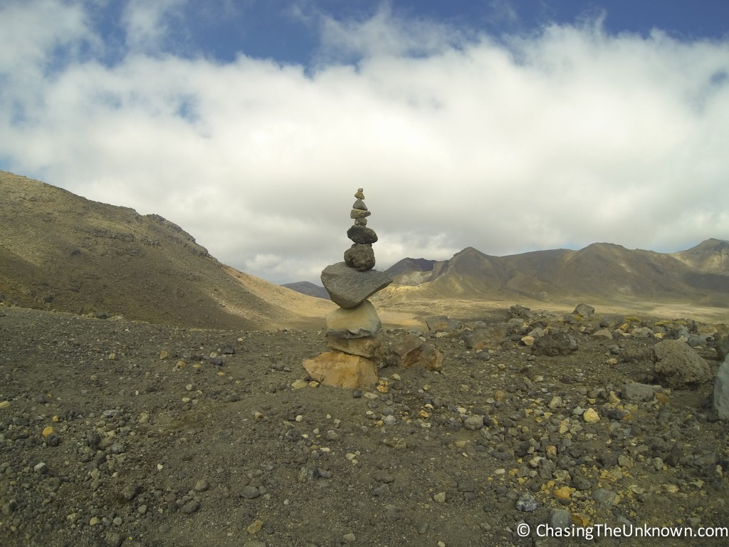 Somebody made a cairn at the top of one of the mountains!