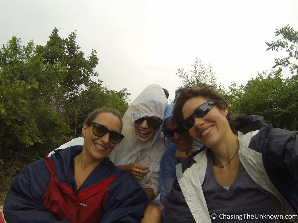 At the end of the trip - poncho donning, wet, but still smiling