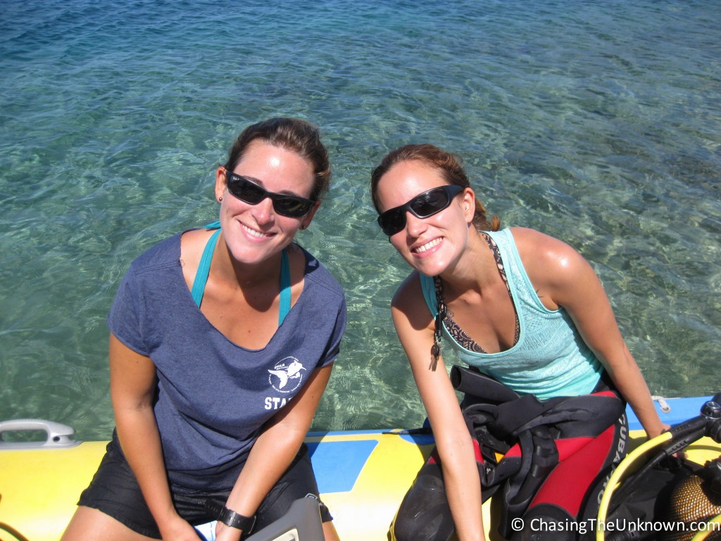Marbree and Virginie on the dive boat.