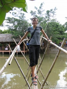 Jen on the monkey bridge