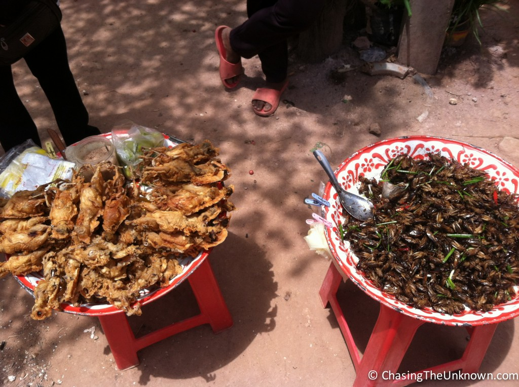 Fried sparrow on the left and fried crickets on the right.