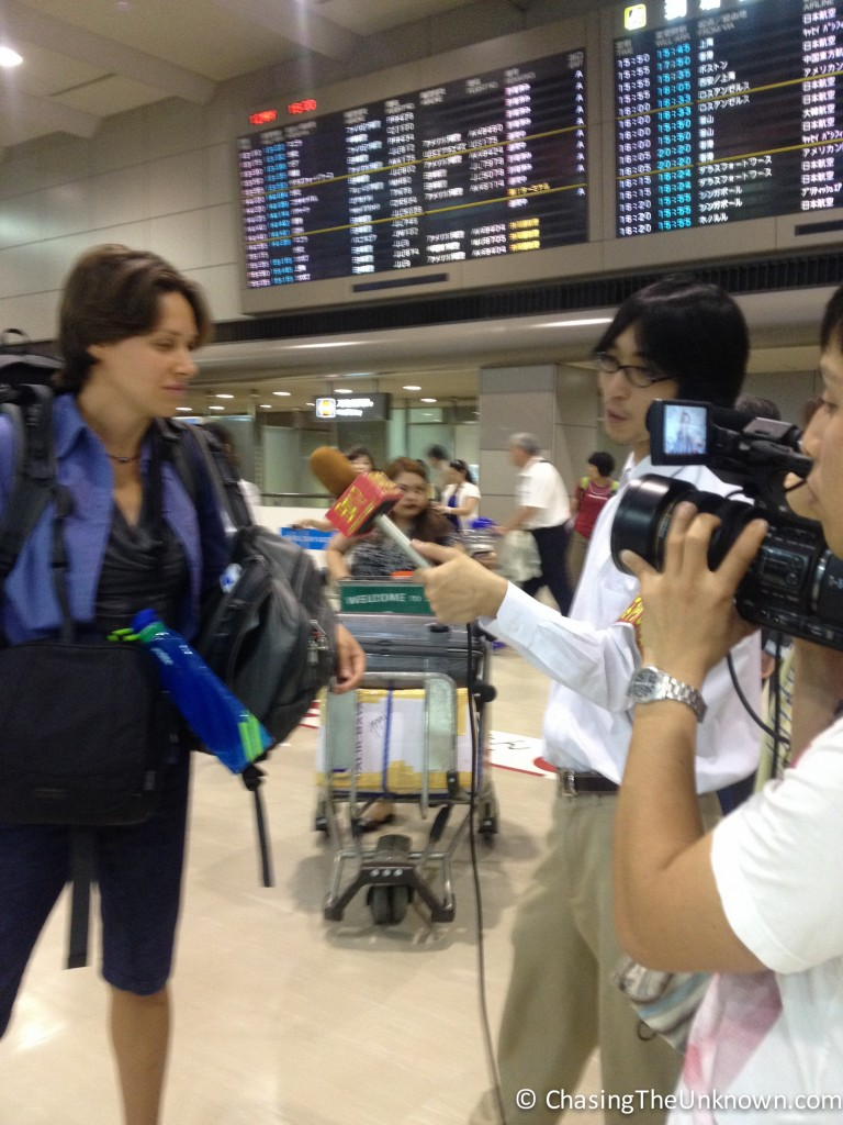 Fresh off the plane at Narita, I was interviewed for a Japanese TV show.