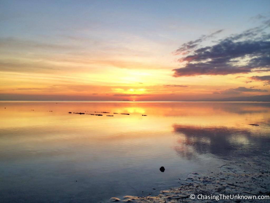 Sun setting beside Apo Island, as seen from Siquijor