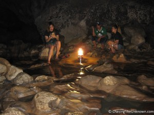Even inside a cave, Filipinos smoke.
