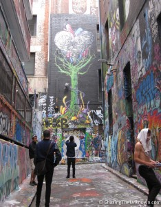 A few alleys in Melbourne are covered with street art, this is just one of them