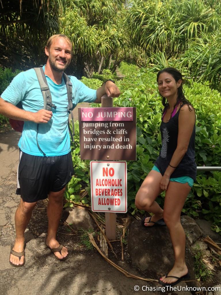 No jumping sign Maui