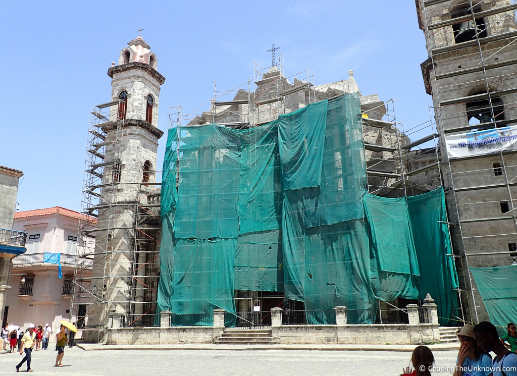 Even under renovation, the highlight of Havana's Plaza de la Catedral draws visitors